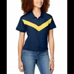 Almost Famous Navy Cropped Chevron-Stripe Polo Top